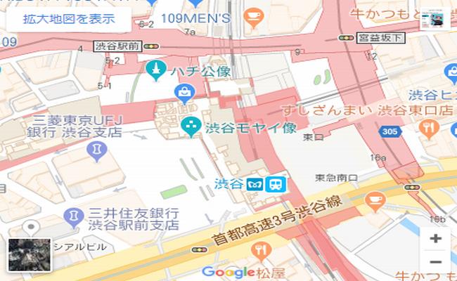渋谷モヤイ像の地図
